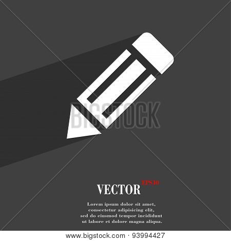 Pencil Icon Symbol Flat Modern Web Design With Long Shadow And Space For Your Text. Vector