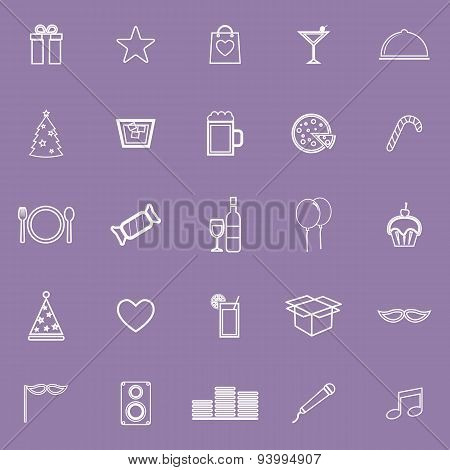 Party Line Icons On Violet Background