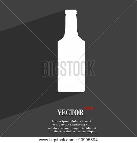 Bottle Icon Symbol Flat Modern Web Design With Long Shadow And Space For Your Text. Vector