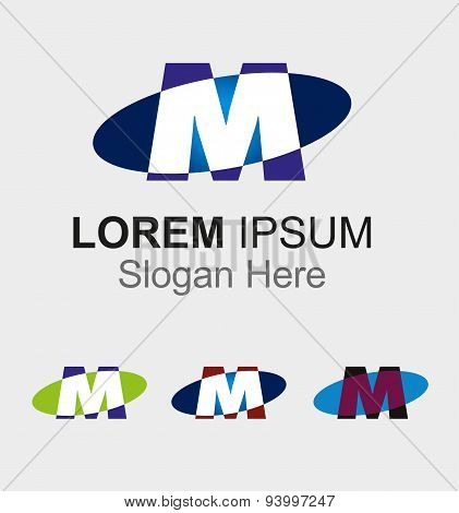 Elip icon with letter M logo design