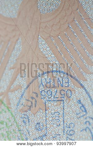 German Passport With Entry Stamp