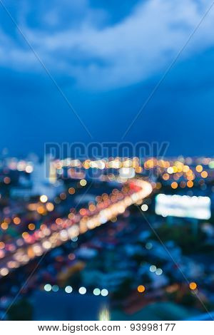 City freeway twilight abstract blur bokeh background