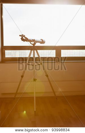 telescope on the balcony and sunshine