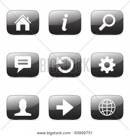 Web Internet Square Vector Black Button Icon Design Set