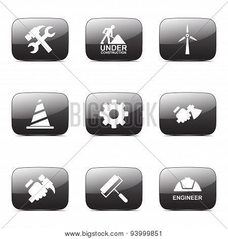 Construction Tools Square Vector Black Button Icon Design Set 2