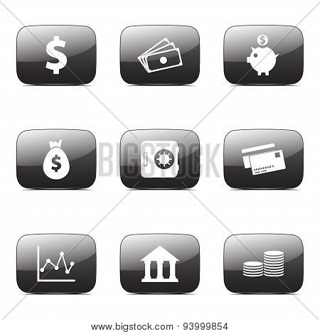 Financial Banking Square Vector Black Button Icon Design Set