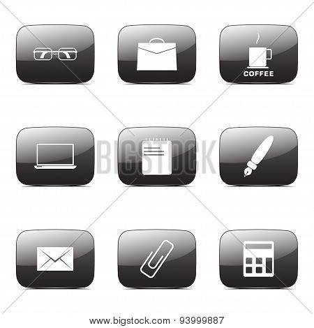 Office Work Square Vector Black Button Icon Design Set