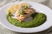 image of mint-green  - Grilled chicken and mashed mint with green peas close - JPG