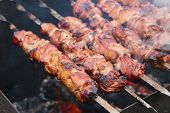 picture of brazier  - The shish kebab on skewers is fried on a brazier - JPG