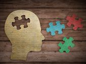 image of thinker  - Puzzle head brain concept - JPG