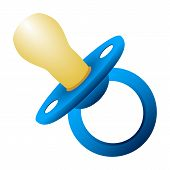 image of babysitting  - blue baby pacifiers on white background vector illustration - JPG