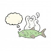 stock photo of smelly  - cartoon smelly fish with thought bubble - JPG