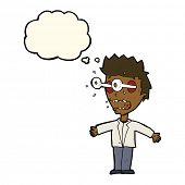 image of stare  - cartoon staring man with thought bubble - JPG