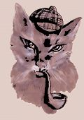 image of tobacco-pipe  - cat with tobacco pipe and a hat - JPG