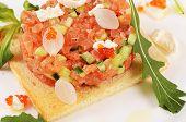 foto of tartar  - The tartare of salmon on a bun - JPG
