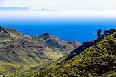 picture of canary-islands  - Coast or shore of Atlantic ocean with green mountain or rock with skyline and island in fog at background in Tenerife Canary island Spain at spring or summer - JPG