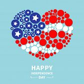 foto of stripping  - Round dot heart flag Star and strip Happy independence day United states of America - JPG