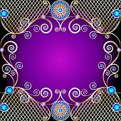 picture of precious stones  - illustration background with Golden ornaments with precious stones and swirls - JPG