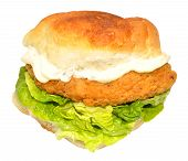 stock photo of southern fried chicken  - Southern fried chicken sandwich with lettuce and mayonnaise isolated on a white background - JPG