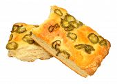 stock photo of fieri  - Cheese and fiery jalapeno pepper focaccia bread isolated on a white background - JPG