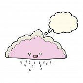 stock photo of rain cloud  - cartoon rain cloud with thought bubble - JPG