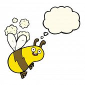 image of bee cartoon  - funny cartoon bee with thought bubble - JPG