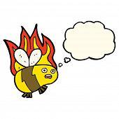 foto of bee cartoon  - cartoon bee with thought bubble - JPG