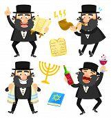 stock photo of israel israeli jew jewish  - set of cartoon rabbis and Jewish symbols - JPG