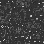 stock photo of heavy equipment  - Seamless pattern with silhouette of heavy equipment and machinery - JPG
