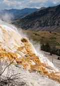 stock photo of mammoth  - Colorful Mammoth Hot Spring Terraces in Yellowstone National Park - JPG