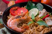 picture of thai cuisine  - Tom Yum Kung with noodles is popular Thai dish cuisine - JPG