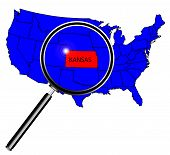 image of kansas  - Kansas state outline set into a map of The United States of America under a magnifying glass - JPG