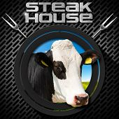 stock photo of cow head  - Steak house menu design with round symbol with head of cow on a dark metal background with grill and two steel forks - JPG