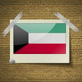 picture of kuwait  - Flags of Kuwait at frame on a brick background - JPG