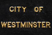 picture of prime-minister  - City of Westminster spelt in gold lettering - JPG