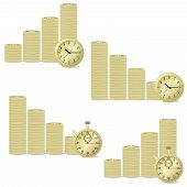 image of golden coin  - Golden coins and golden clock on the white background - JPG