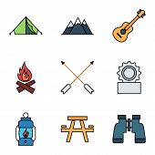 foto of bonfire  - Camping flat vector icon set for web and mobile applications - JPG