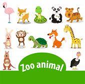 stock photo of tree snake  - Illustrator of zoo animal with snake kangaroo tiger panda - JPG