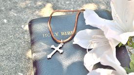 foto of leather-bound  - Silver and brown cross necklace draped over a black leather-bound Bible with gold lettering and azalea blooms