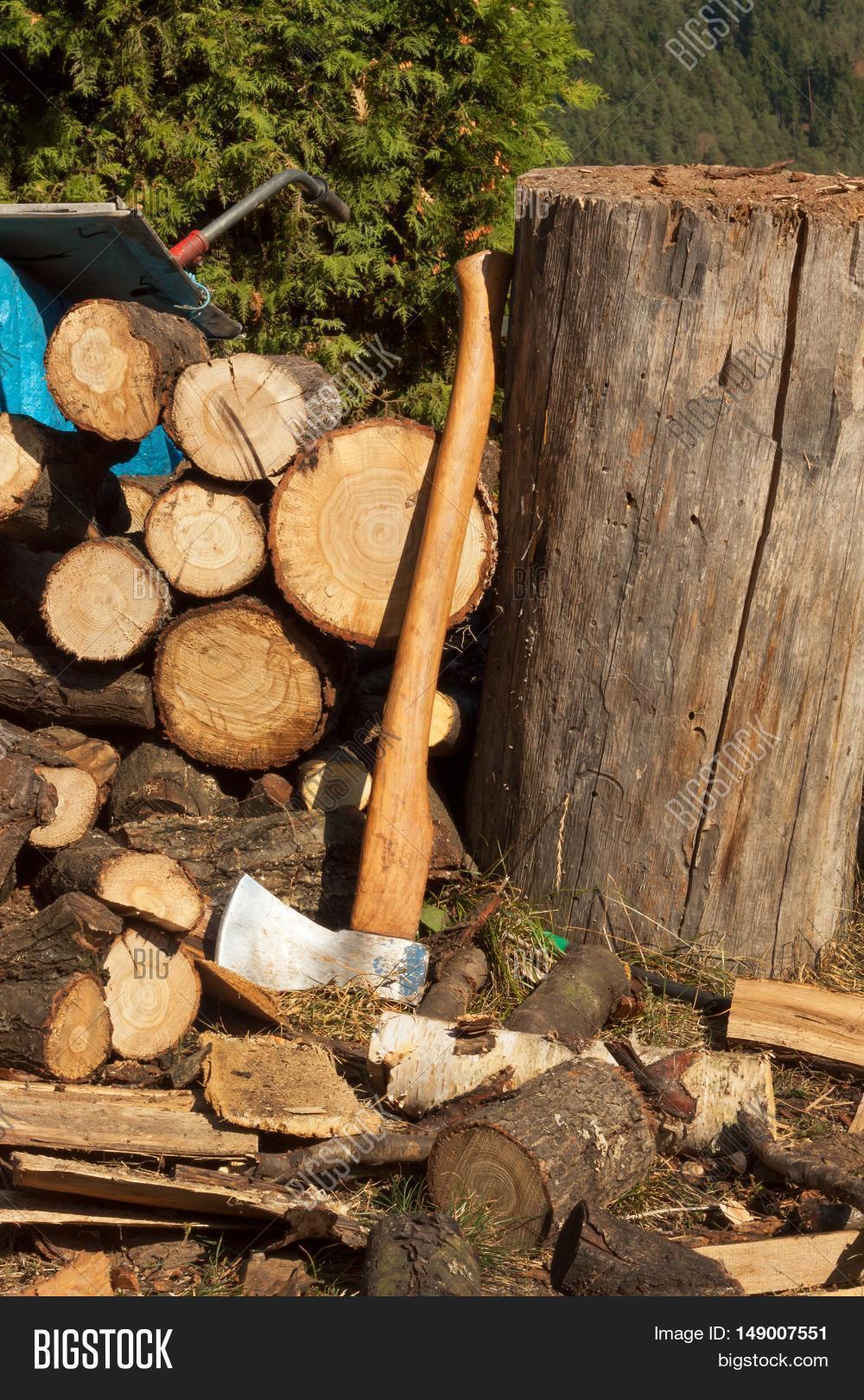 Old ax on log firewood axe cut image photo bigstock