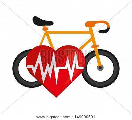 flat design bike and heart cardiogram icon vector illustration