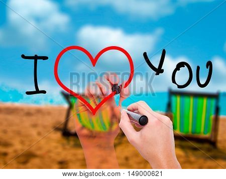 Man Hand Writing I Love You  With Black Marker On Visual Screen