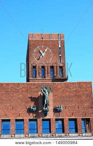 City Hall with clock and Monuments Oslo Norway