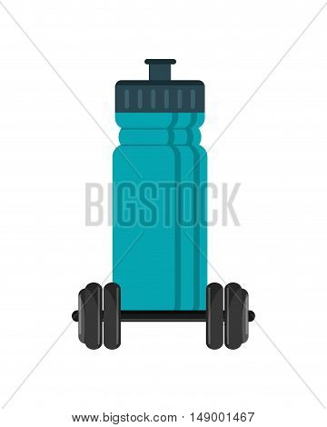 flat design sports bottle and dumbbell  icon vector illustration