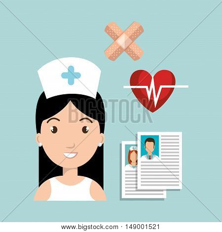 avatar woman nurse with medicine icon set. colorful design. vector illustration