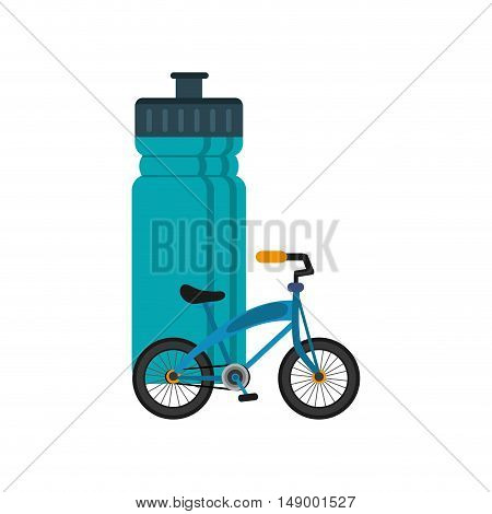 flat design sports bottle and bike  icon vector illustration