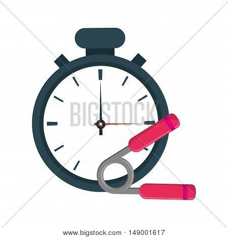 flat design analog chronometer and  hand grip icon vector illustration