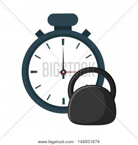 flat design analog chronometer and kettlebell  icon vector illustration