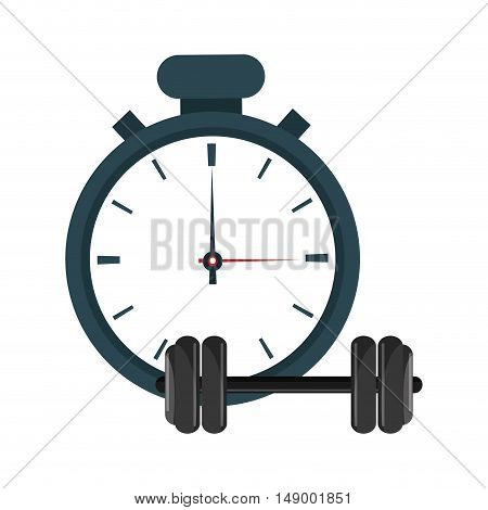 flat design analog chronometer and dumbbell  icon vector illustration