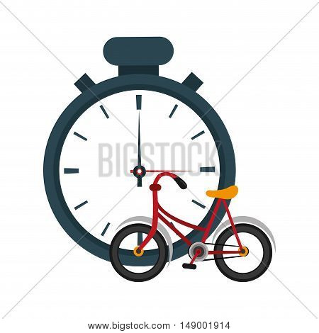 flat design analog chronometer and bike  icon vector illustration